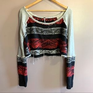 FREE PEOPLE SNOW ANGEL CROPPED SWEATER SCOOP NECK